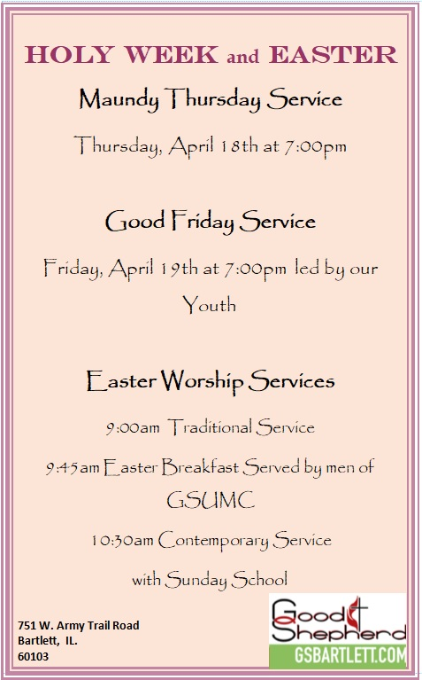 Holy Week and Easter Worship Flyer 2019